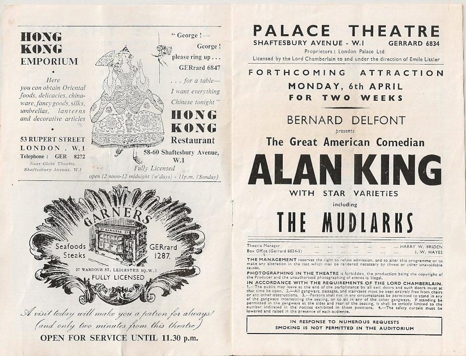 Palace Theatre March 23rd 1959